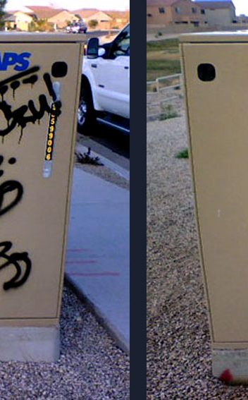 Graffiti Removal before and after by Miracle Maintenance in Phoenix AZ