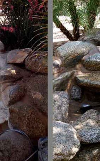 Water Fountain Before and after Glass bead tile cleaning by Miracle Maintenance in Phoenix AZ